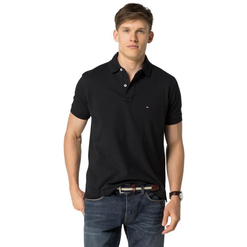 858d10c9811d TOMMY HILFIGER pánské polo tričko černé THJP0001 č.1