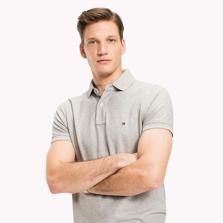 Tommy Hilfiger TOMMY HILFIGER pánské polo tričko světle šedé