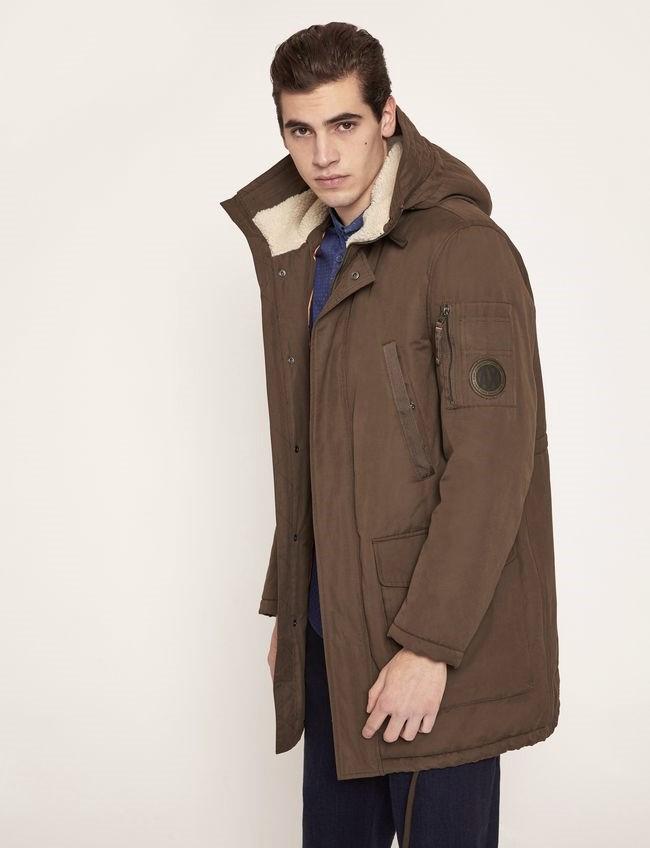 Armani Emporio Armani pánská zimní bunda hnědá s kapucí