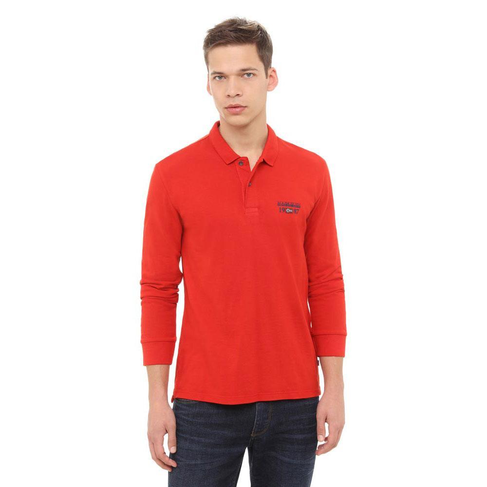 5d7fd6ab3497 NAPAPIJRI pánské červené polo tričko s dlouhým rukávem č.1