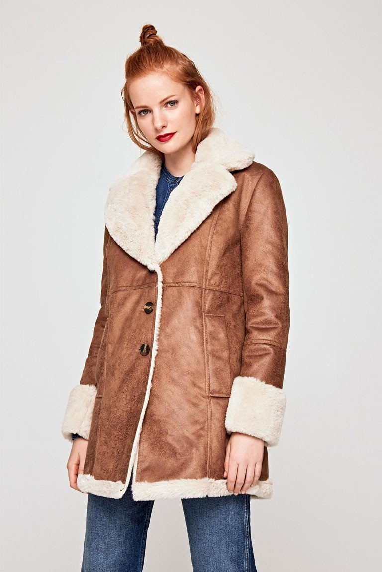 Pepe Jeans Pepe Jeans dámský hnědý kabát s kožíškem