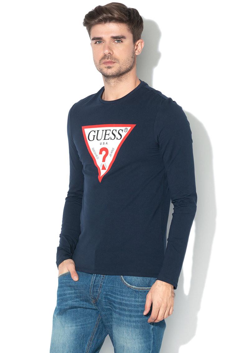 Guess GUESS pánské tmavě modré tričko s dlouhým rukávem