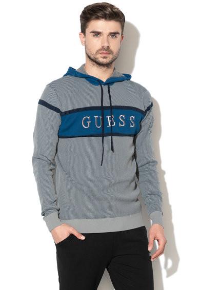 Guess GUESS pánská šedo modrá mikina s kapucí