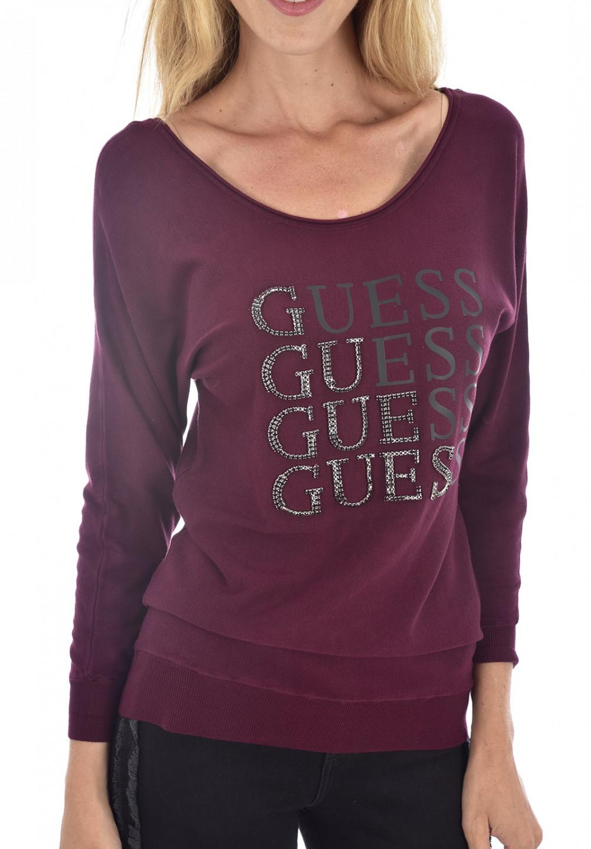 Guess GUESS dámský vínový dlouhý svetr