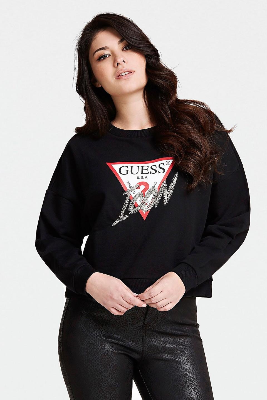 Guess GUESS dámská černá mikina s kamínky