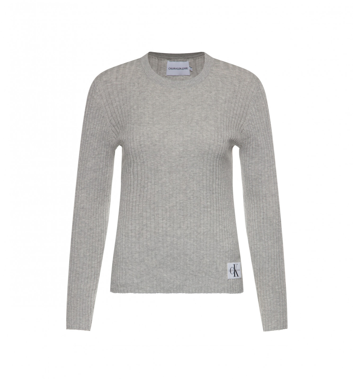 Calvin Klein Calvin Klein dámský šedý svetr Pointelle Rib Sweater