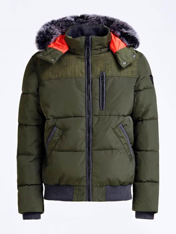 Levně Guess GUESS péřová zelená bunda s kapucí
