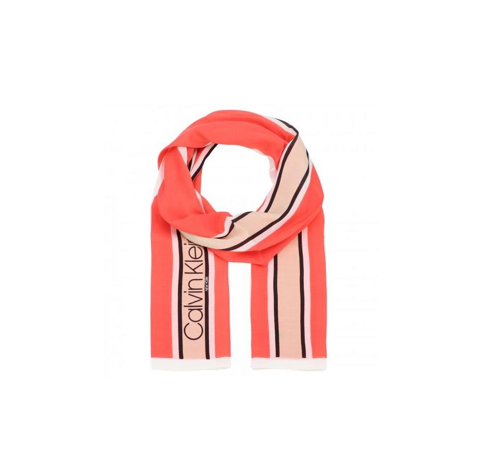 Calvin Klein Calvin Klein dámský korálový šátek Stripe Scarf