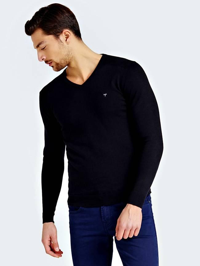 Guess GUESS pánský černý svetr do V