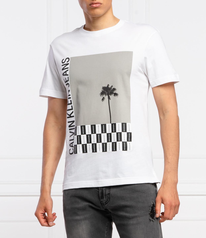 Levně Calvin Klein Calvin Klein pánské bílé tričko PALM TREE PHOTO REL TEE