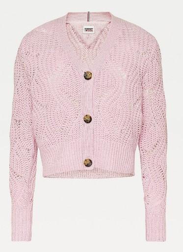 Tommy Hilfiger Tommy Jeans dámský růžový svetr TJW POINTELLE CARDIGAN