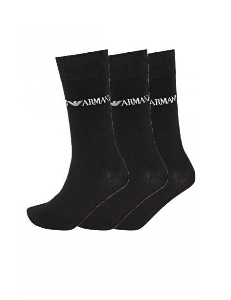 Armani Emporio Armani pánské černé vyšší ponožky - 3ks