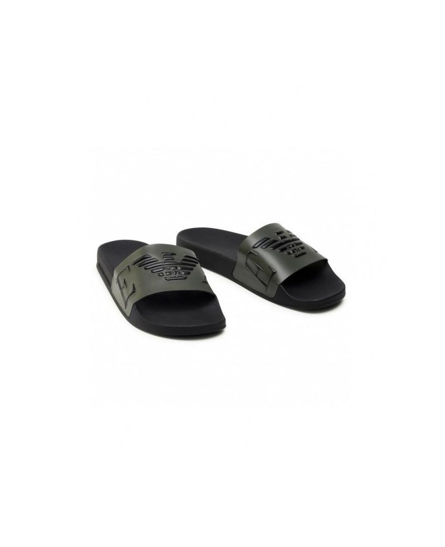 Armani Emporio Armani pánské černo zelené pantofle